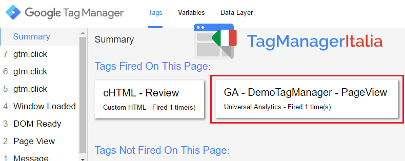 anteprima tag analytics google tag manager
