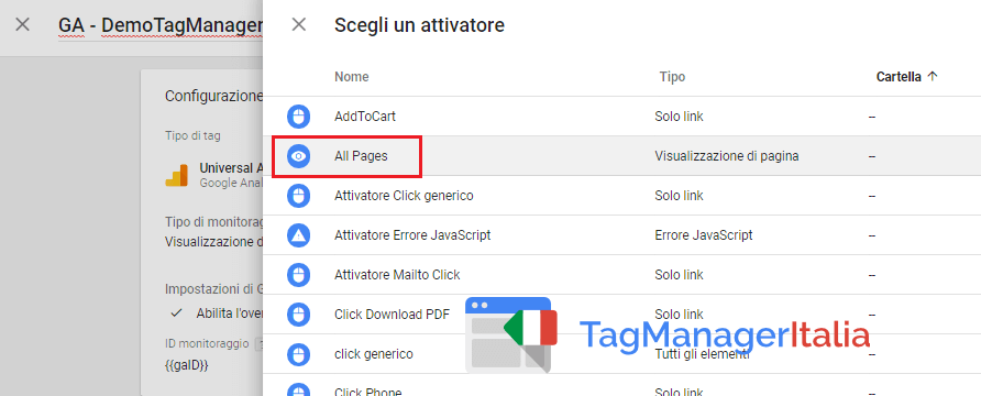 attivatore all pages per tag analytics google tag manager