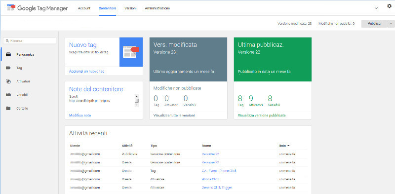 google tag manager italia layer home