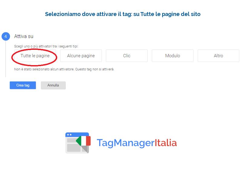 guida implementazione google analytics - attivare il tag