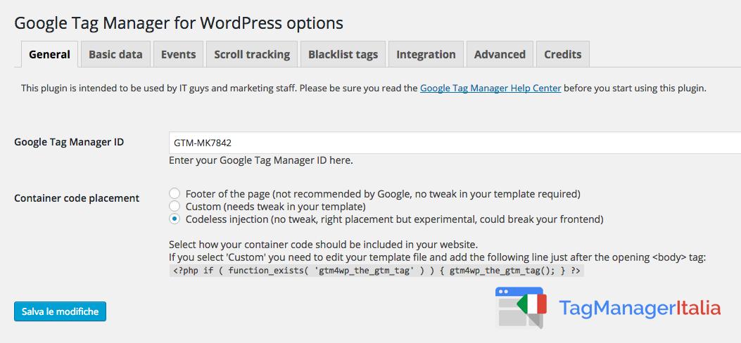Installare Google Tag Manager Tramite WordPress 4