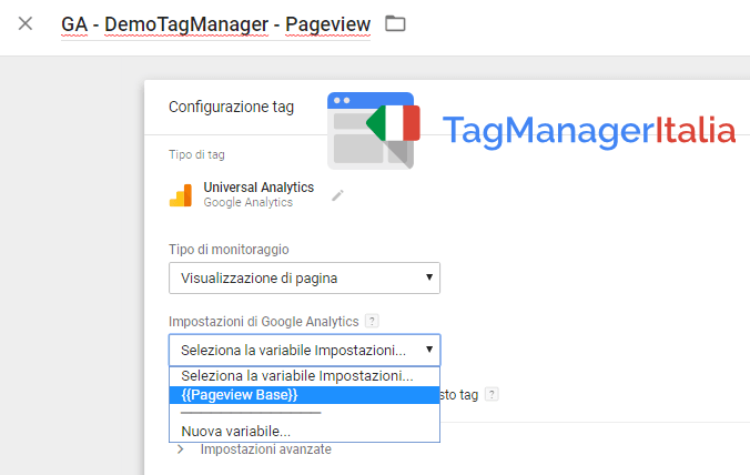 tag analytics con variabile ga in google tag manager