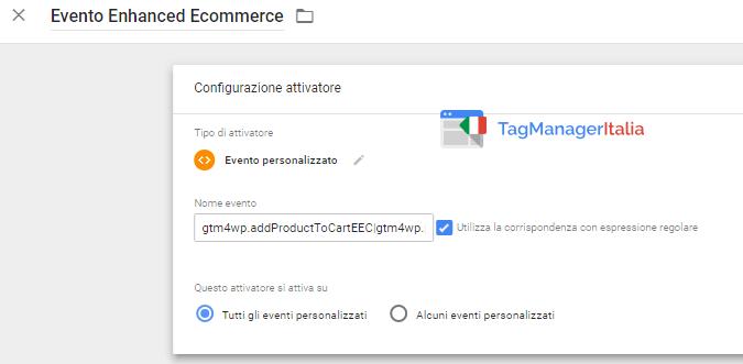 attivatore abilitare ecommerce avanzato google tag manager