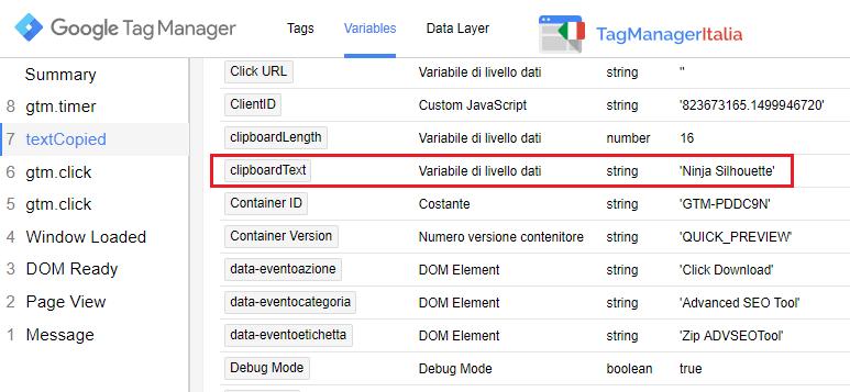 dettagli variabile clipboardtext tracciare chi copia testo google tag manager