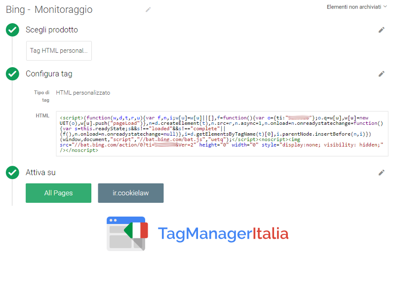 Tag Google Tag Manager - Bing UET