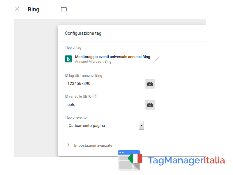 google tag manager tag bing