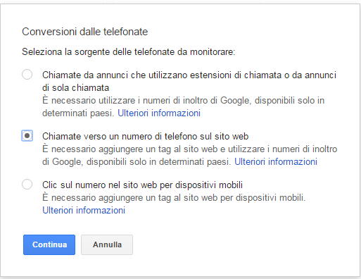 conversione telefono website adwords