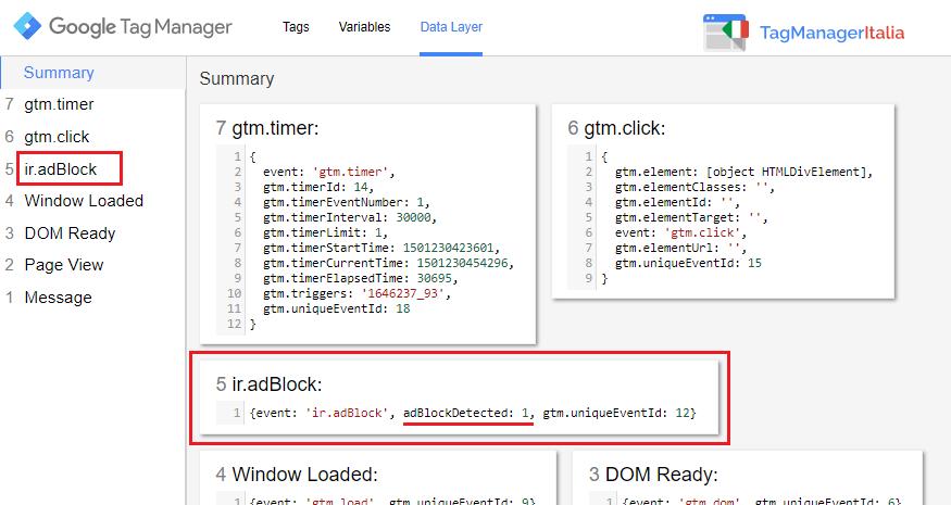 data layer tracciare chi usa adblock su analytics google tag manager