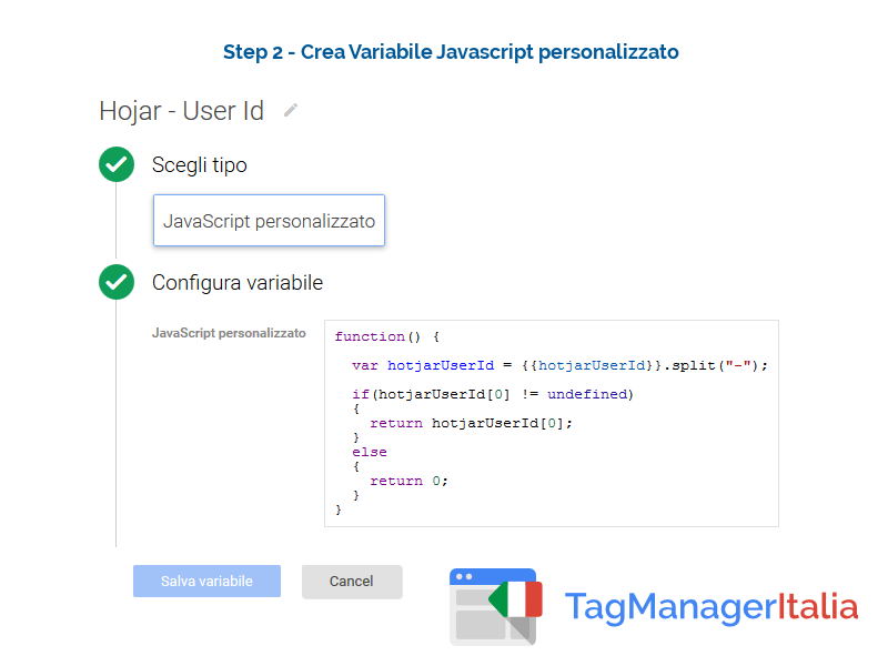 google analytics hotjar - variabile personalizzato user id