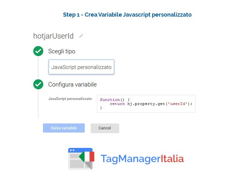 google analytics hotjar - variabile personalizzato