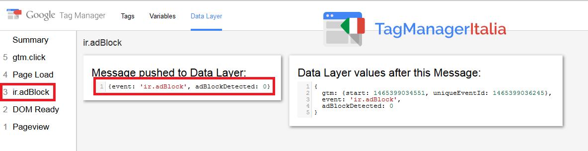 google tag manager tracciare adblock - debug preview