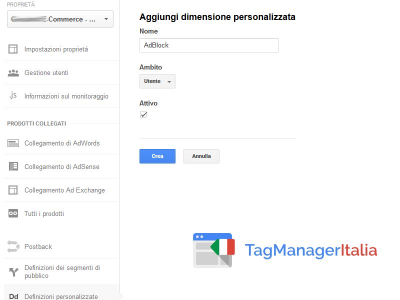 google tag manager tracciare adblock - dimensione personalizzata