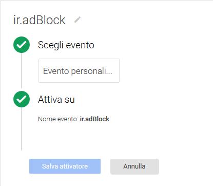 google tag manager tracciare adblock - evento personalizzato