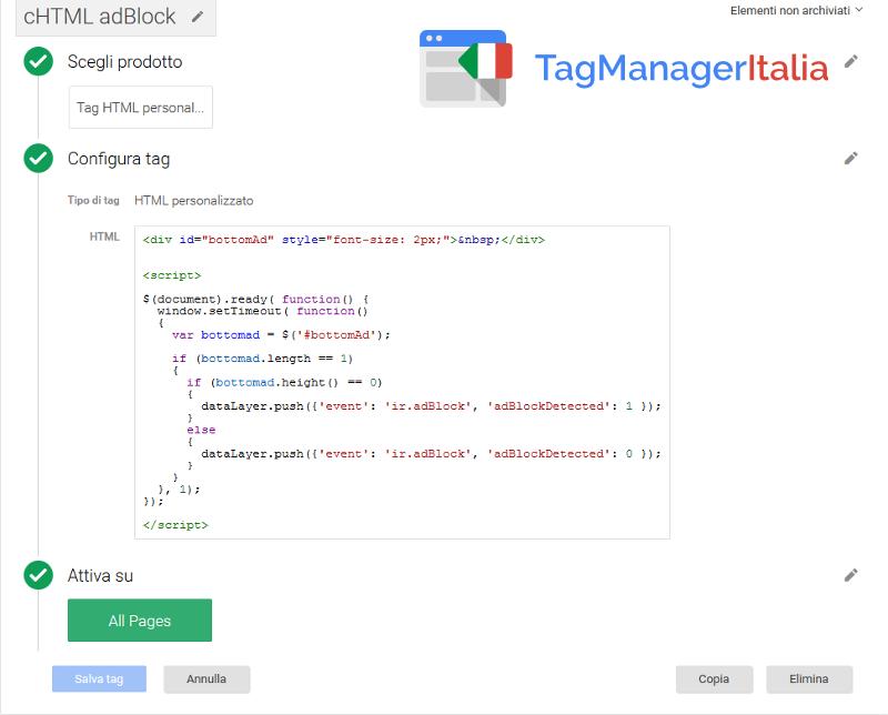 google tag manager tracciare adblock - tag html personalizzato