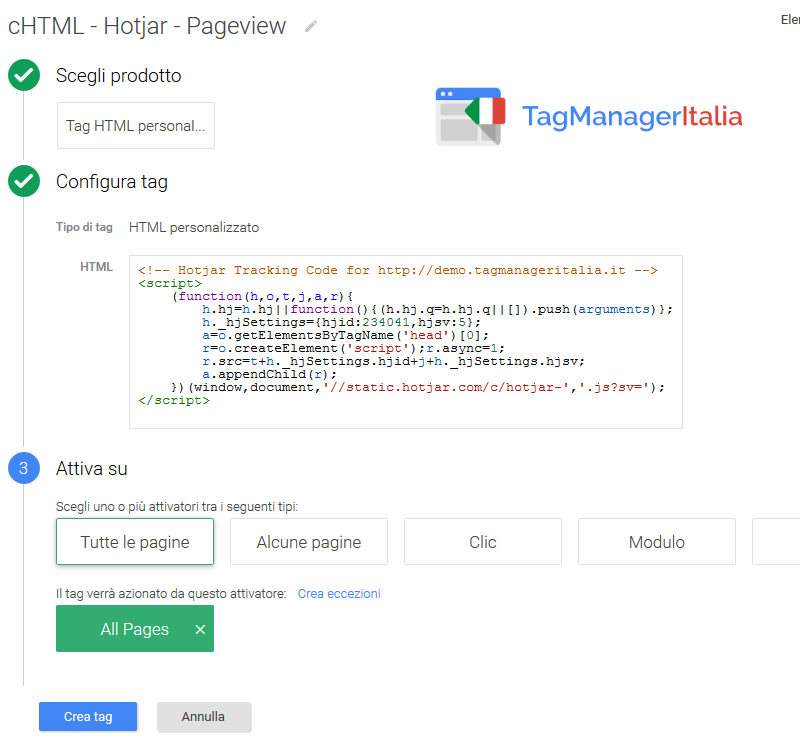snippet HTML personalizzato hotjar google tag manager