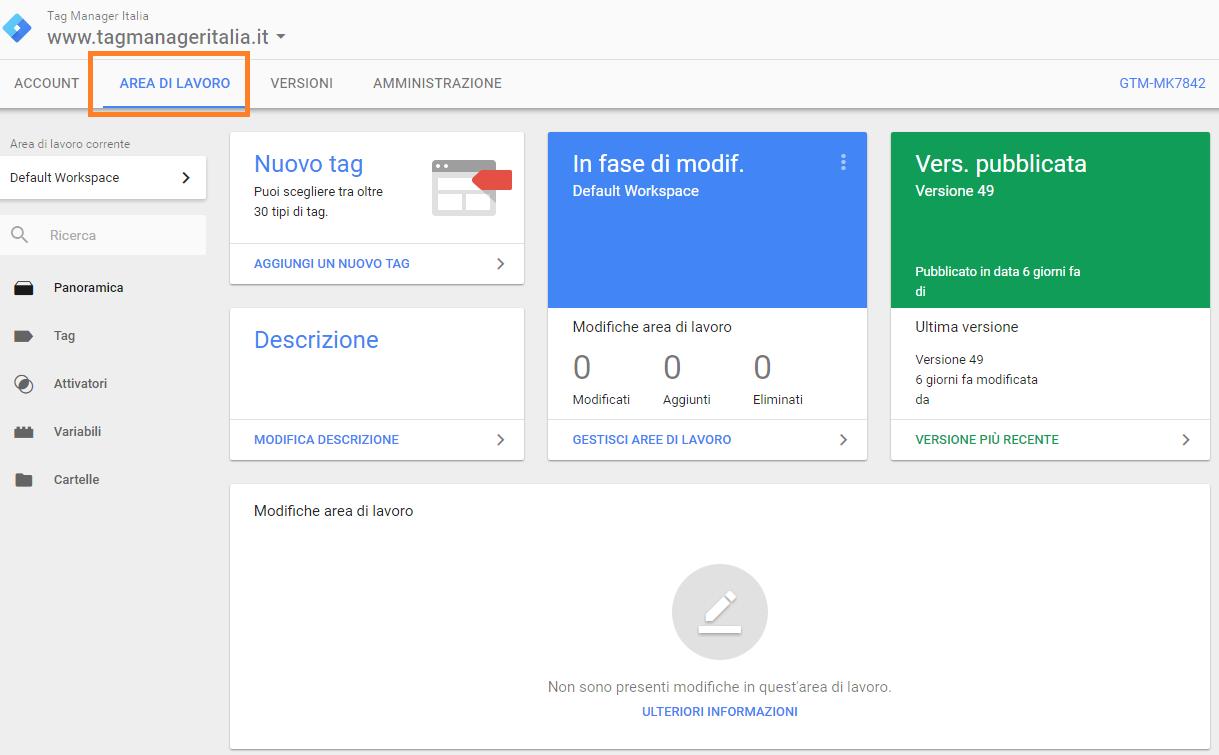 aree di lavoro google tag manager