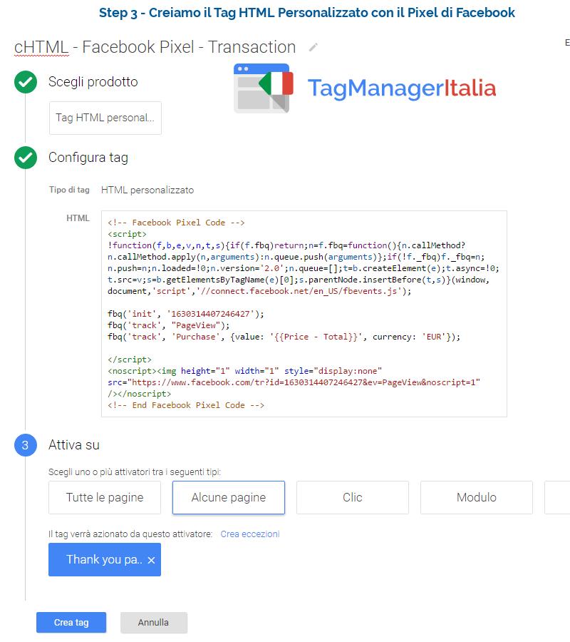 pixel transazione facebook step3
