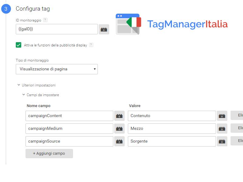 step parametri utm google tag manager