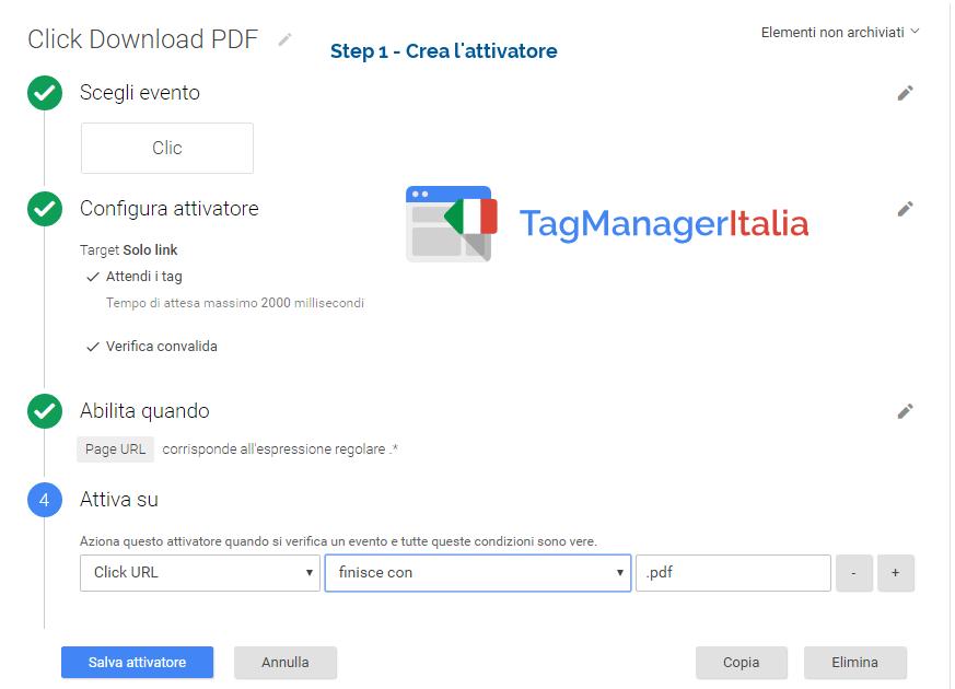 step1 crea l'attivatore per tracciare i PDF con GTM