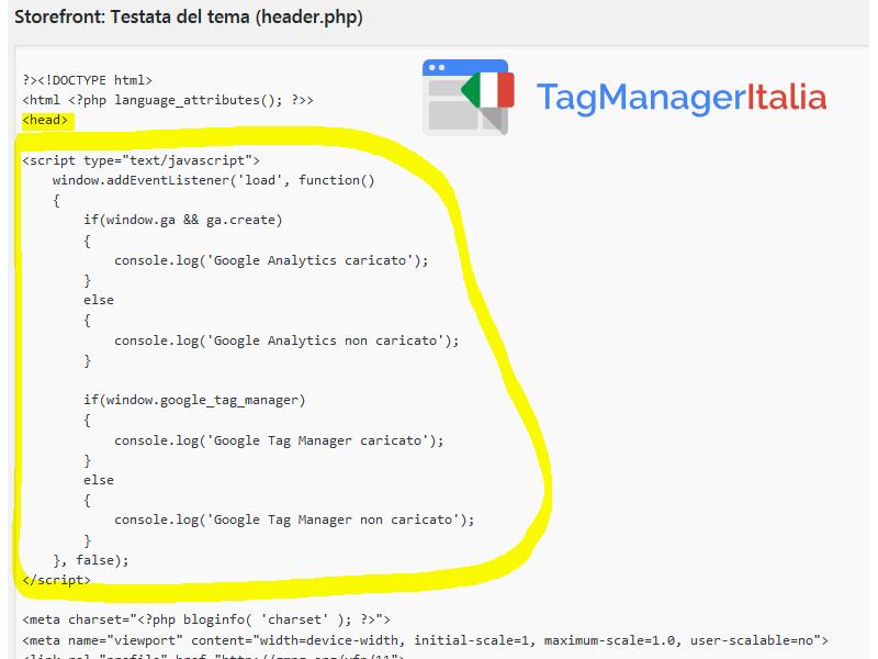 Inserire il codice che analizza se GTM e GA vengono bloccati