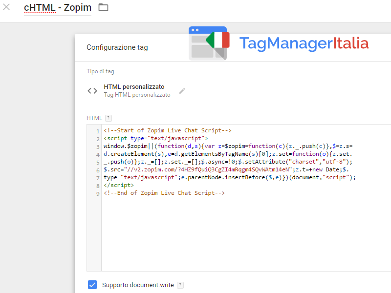 guida base zopim chat snippet tag html