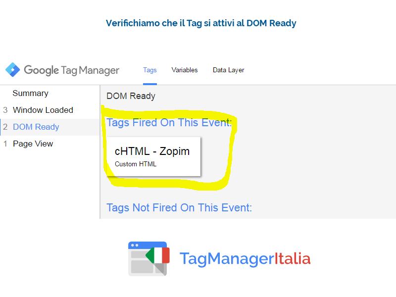 step 4 verifica attivazione zopim chat gtm