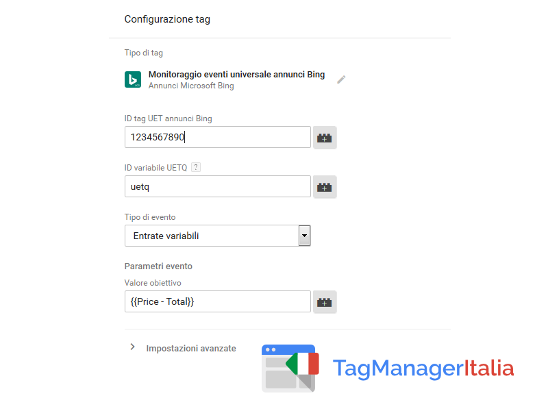 google tag manager tag bing transazione variabile
