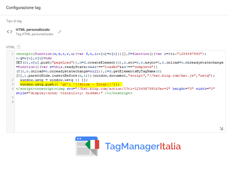 google tag manager tag bing transazione
