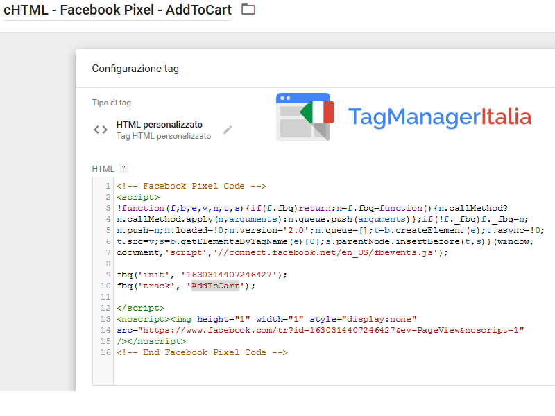 pixel facebook addtocart pixel step 2