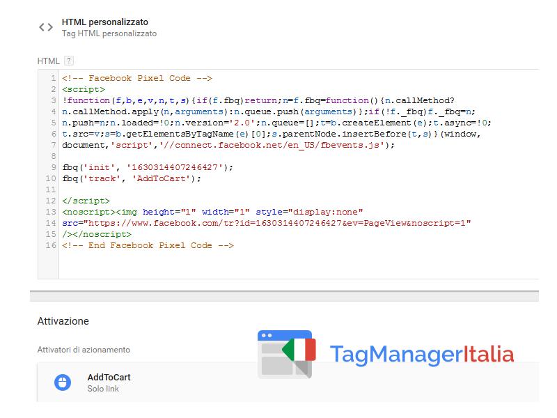 google tag manager pixel facebook addtocart step3
