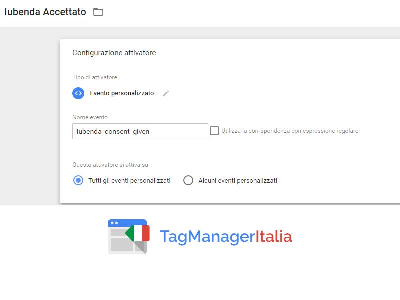 iubenda step 1 attivatore e google tag manager