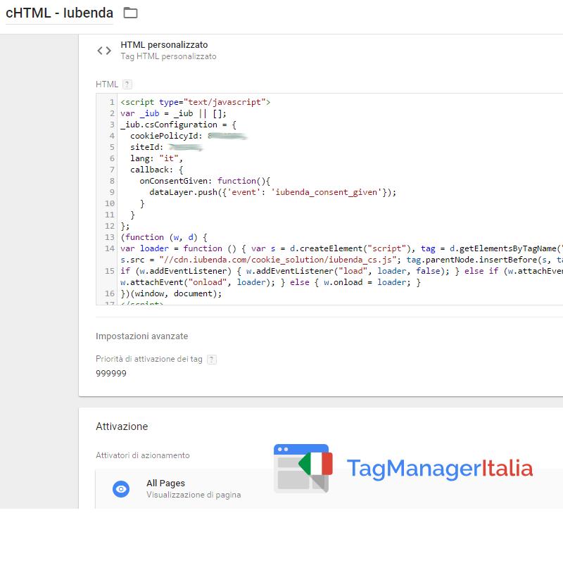 iubenda step 1 tag HTML personalizzato