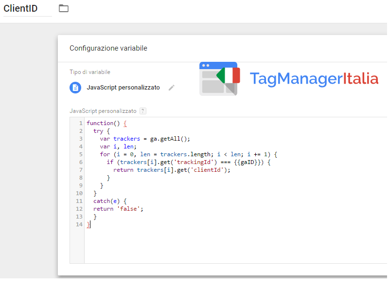 step1 - creazione variabile client id google tag manager