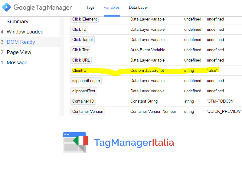 step2 - debug DOM - variabile client id google tag manager