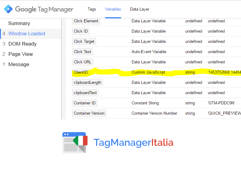 step2 - debug window load - variabile client id google tag manager