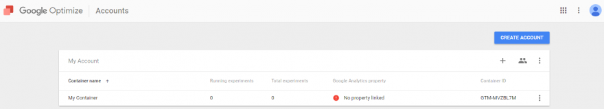google optimize - google tag manager creazione account