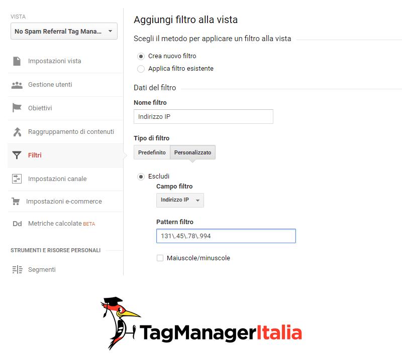 analytics filtro indirizzo ip
