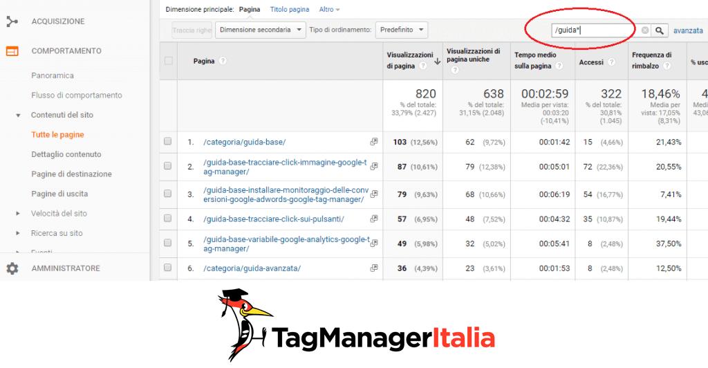 filtrare page url espressioni regolari