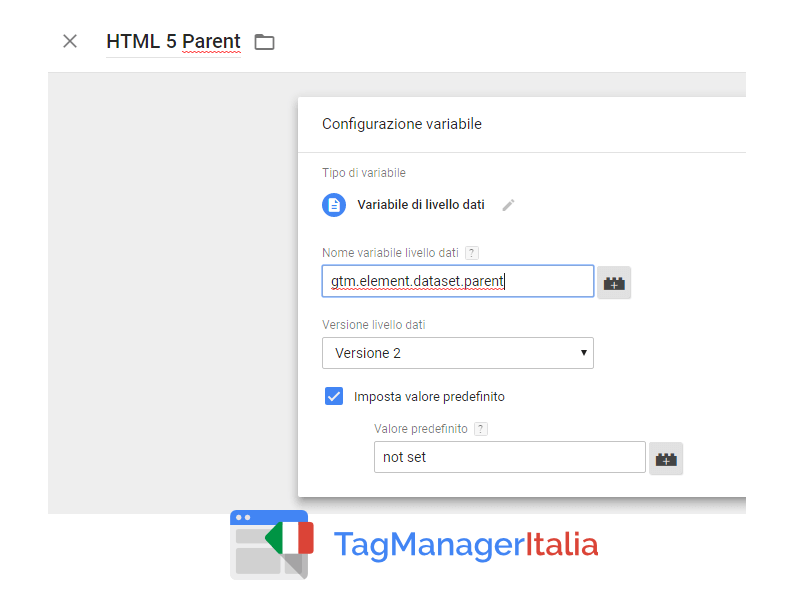 attributi html 5 e google tag manager