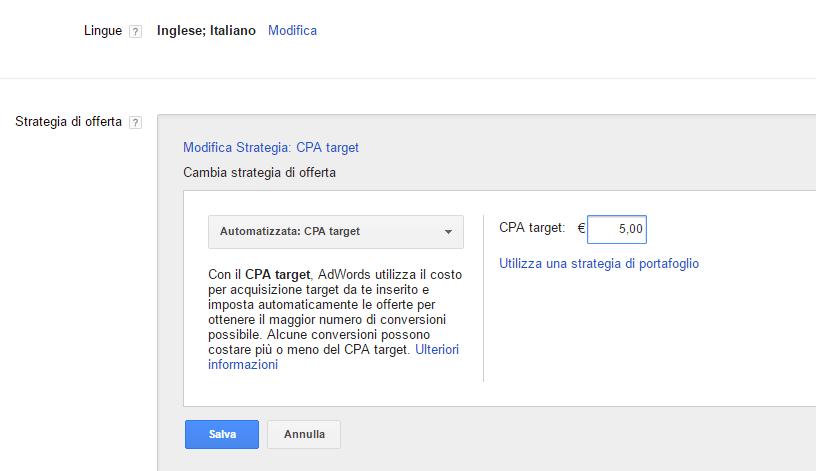 impostare offerta cpa target su google adwords