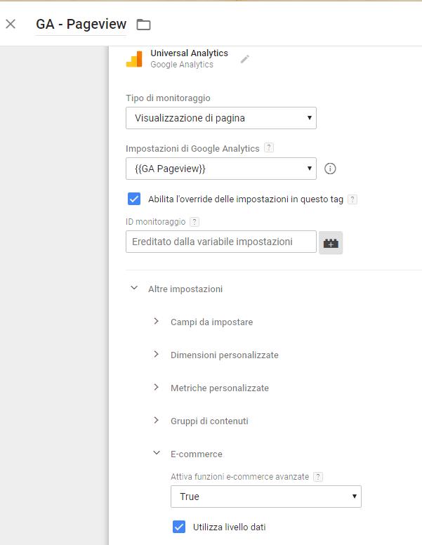 GTM ecommerce avanzato datalayer