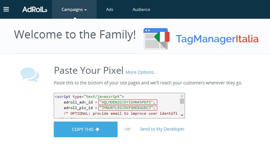 pixel adroll per remarketing