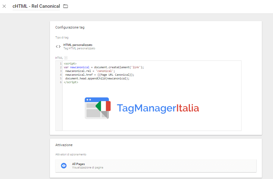 tag aggiungere rel canonical seo google tag manager
