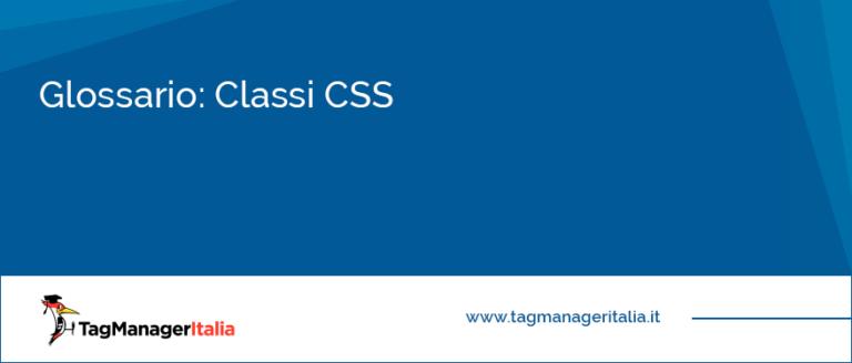 Glossario Classi CSS