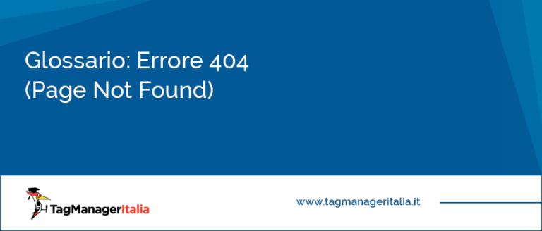 glossario errore 404 page not found
