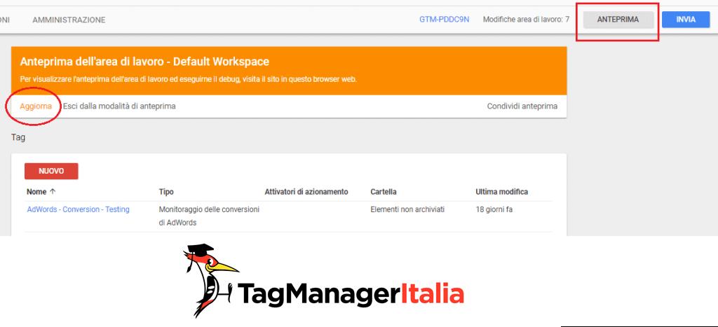 modalità anteprima debug google tag manager