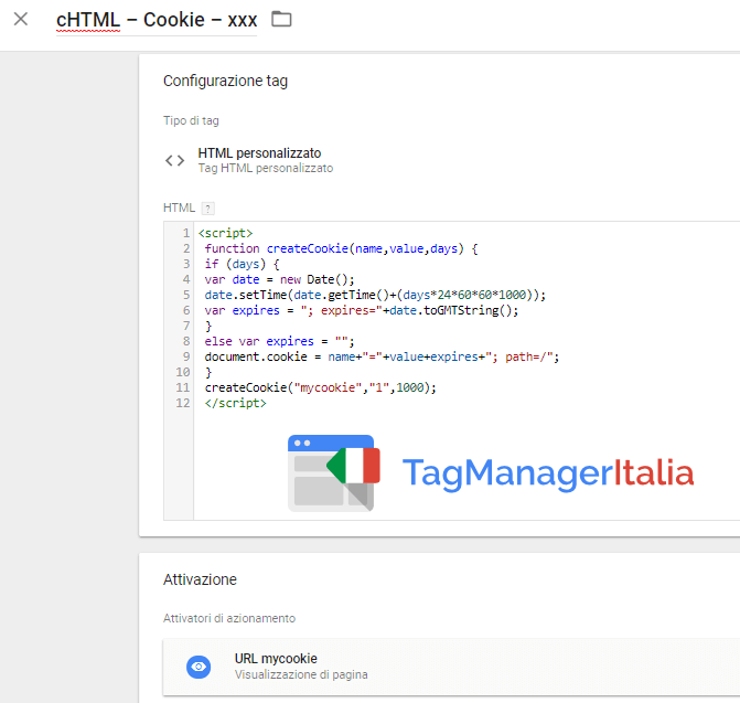 tag creare cookie google tag manager