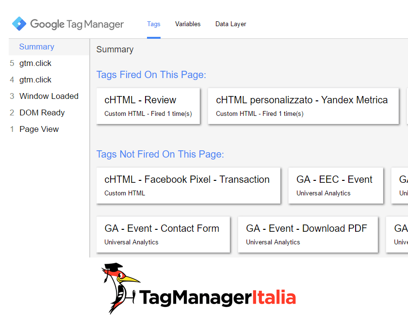 tags fired on this page google tag manager