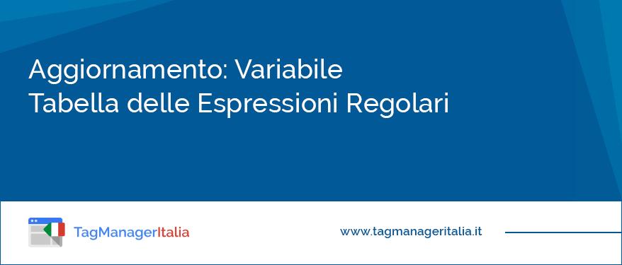 news variabile tabella delle espressioni regolari regex google tag manager
