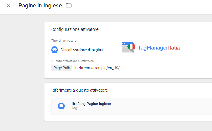attivatore aggiungere href lang inglese google tag manager